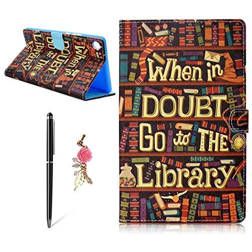 Huawei MediaPad M5 10.8 Hülle, Flip Typ Premium Stilvolle PU Ledertasche Wake/Sleep Funktion Handyhülle Anti-Scratch Drop Beständig Falten Tablet Schutzhülle, Bücherregal -