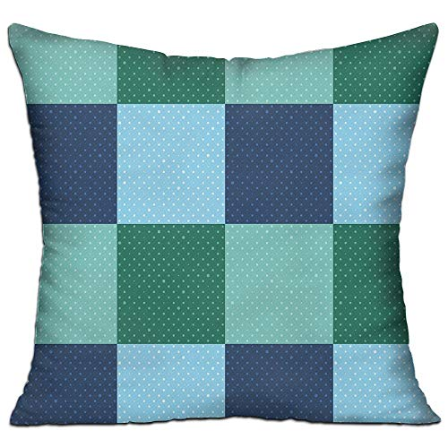tgyew Navy and Teal Aquatic Colored Squares with Old Fashioned Polka Dots Retro Style Maritime Decorative Living Room Decor Throw Pillow Cover 18