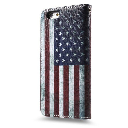 jbTec® Flip Case Handy-Hülle zu Apple iPhone 6 Plus / 6s Plus - BOOK MOTIV - Handy-Tasche, Schutz-Hülle, Cover, Handyhülle, Bookstyle, Booklet, Motiv / Muster:USA Flag USA Flag