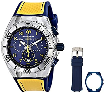 Technomarine unisex Quartz Watch with Blue Dial Chronograph Display and Yellow Silicone Strap 114025
