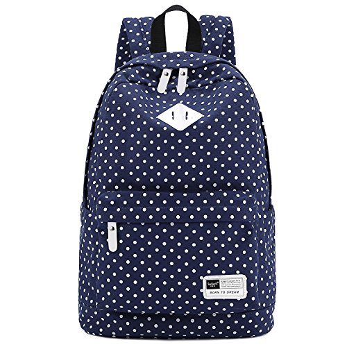S-ZONE Lightweight Casual Daypack Canvas Polka Dot Backpack 14