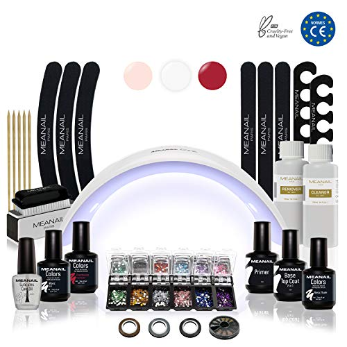 Nagelstudio Set komplett • Meanail® Paris Design XXL • Maniküre + Pediküre • inkl. Naildesign Zubehör (30-teilig) • 1 UV LED Lampe für Nägel • UV GEL • Nailart • Vegan&Cruelty free