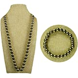 Eshoppee 8mm Reiki Crystal Pyrite Stone Round Bead Crystal/Stone Necklace With Bracelet For Men And Women Wealth - Grounding - Will Power - Solar Plexus, Sacral, Root Chakra Stone