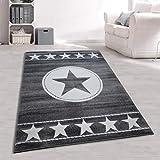 Jugendzimmer Teppich Sterne Grau Größe 120 x 170 cm