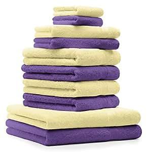 10 tlg Handtuch Set Classic Premium Farbe Hell Gelb & Lila 100% Baumwolle 2 Seiftücher 2 Gästetücher 4 Handtücher 2 Duschtücher