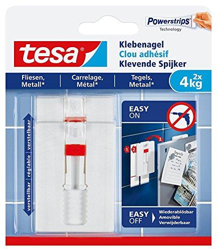 tesa® Verstellbarer Klebenagel für Fliesen und Metall, spurlos wiederablösbar, wiederverwendbar (4 kg / 3er Pack)