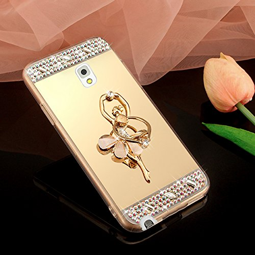 Coque Galaxy Note 4, Miroir Housse Coque Silicone TPU pour Samsung Galaxy Note 4, Surakey [Ballerine fille 360 Rotation Bague bâton support] Elegant Cool Bling Briller étincellement Coloré Diamond Rose Or Coque Effet Miroir Etui TPU Téléphone Coque Coquille de protection Flex Soft Gel en Caoutchouc Bumper Shockproof Anti Scratch Housse Rigid Back Cover pour Samsung Galaxy Note 4, Or