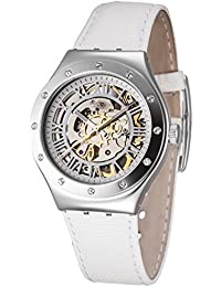 Swatch Ladies YAS109 Skeleton Dial Stainless Steel Automatic Leather White Watch