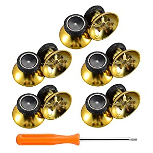 eXtremeRate 10 Stück Sticks Thumbsticks Analogsticks Kappen Buttons für Xbox One Xbox One S Controller(Gold)