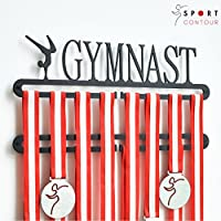 Sport Contour Gymnastic Medalla Muestra Doble Percha Negro