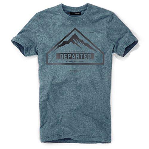 DEPARTED Herren T-Shirt mit Print/Motiv 4031-250 - New fit Größe L, Ocean Denim Blue Triblend -