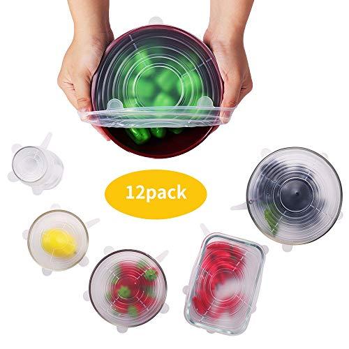 BEAUTLOHAS. Dehnbare Silikondeckel, 12 Pack Silikondeckel Dehnbar & Wiederverwendbar in Verschiedenen Größen Frischhalte-Deckel Stretch Lid für Schüsseln, Becher, Dosen, Obst