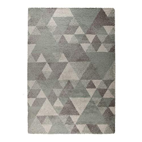 eRugs Moderner Dakari Nuru Lounge Shaggy Teppich geometrischer Stil, Polypropylen, Mint/Cream/Grey, 160 x 220 cm - Salbei Shag Teppich