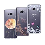 Yokata [3 Pack] Samsung Galaxy S8 Case Silicone Clear Case Personalised Transparent Soft Gel Cover Shockproof Protective Cover Lightweight Rubber Bumper Slim Shell for Galaxy S8 Cases Covers - Butterfly Flower , Floral , Eiffel Tower