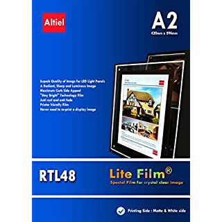 RTL48 - A2 x 50 sheets for Inkjet Printers - Thick Back lit Paper/Lite Film ® for LED Light Pocket/LED Light Panel/LED Lightbox - £31.50 + vat and Next day delivery is available