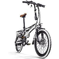 Rich Bit® RT700 Vélos électriques Assistance Vélos plaints 7 Vitesses Cadre pliant Chargeur Mobile Freins à disque 20'' Roue Shimano Dérailleur Blanc