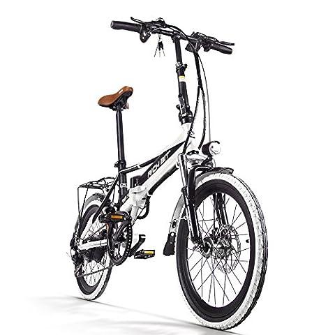 Rich Bit RT700 Vélo électrique pliant pour homme/femme 250W 48V 8Ah 20pouces Double suspension 7vitesses Dérailleur Shimano Batterie LG Freinage à double disque, blanc