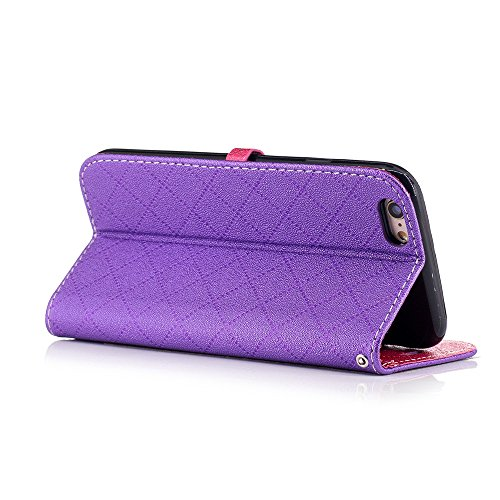 Nutbro iPhone 6S Plus Case,Love Heart shaped Hit Color Synthetic Leather Magnet Closure Flip Wallet Stand Cover with Card Slots Wrist Strap Case for iPhone 6/6S Plus BF-6-Plus-68