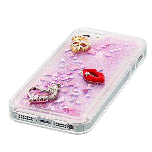 iPhone 5C Hülle, 5C Hülle, Gift_Source [ Silber & Crown Angel ] Glitzer Hülle , Liquid Case, Glitter Hülle Cool 3D Fließen Flüssig Bling Schwimmend Treibsand Stern Luxus Shiny Case Glanz Shiny Effekt  E1-Rosa und rote Lippen