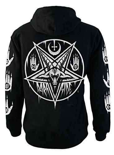 Zip Front T-shirt Kleid (Darkside Pentagram Baphomet Fleece Hoodie Black Zip)