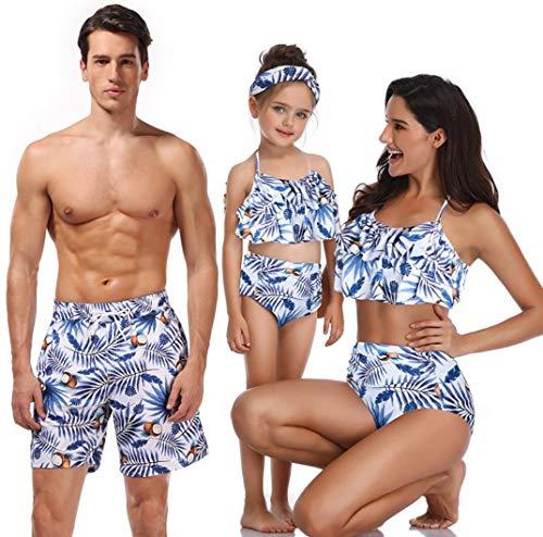 ZYLL Familie passende Bademode Beachwear Mama und ich Badeanzug Mutter Tochter Vater Sohn Kleidung Kleider High Waist Bikini Look Mama,M
