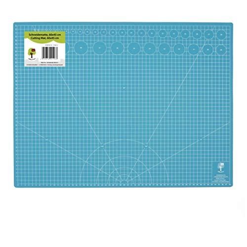 OfficeTree® Schneidematte - 60x45 cm (A2) blau - Cutting Mat mit beidseitigen Rastern und Markierungen für professionelle Schnitte - PVC 5-lagig recycelbar - selbstheilende Oberfläche