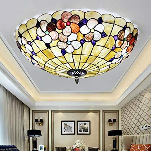 Yjmgrowing LED Tiffany Style Deckenleuchten Pastoral Flush Mount Glasmalerei Balkon Korridor Deckenleuchten für Schlafzimmer Flurbeleuchtung,LED, 18w / 24w / 36w, dreifarbiges Licht,30cm -