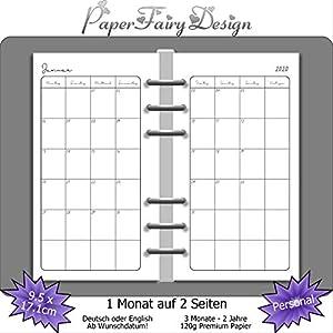 Kalendereinlagen 2020 - Personal (9,5cm x 17,1cm) - 1 Monat auf 2 Seiten - 120g Premium Papier