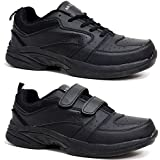 Mens New Leather Wide Fit Velcro / Lace Up Walking Running Gym Trainers Driving Shoes Size 7 - 12
