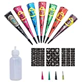 5x Temporäre Tattoo Kegel Kit + 3x Temporäre Tattoos Stickers, Temporäre Mehndi Tattoos, Natürliche Kegel, Tattoo Sticker, Temporäre Tätowierung,1 X Henna Applicator Fles,Tattoo Set - Colin