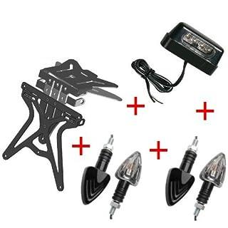 Kit für Motorrad Kennzeichenhalter UNIVERSAL + 4Blinker + Kennzeichenbeleuchtung Lampa zugelassen Gilera SMT 502004-04
