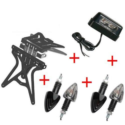 Kit für Motorrad Kennzeichenhalter UNIVERSAL + 2Paar Blinker Vorne Hinten + Licht Blechschild Alles genehmigte Lampa komplett von 4Produkte