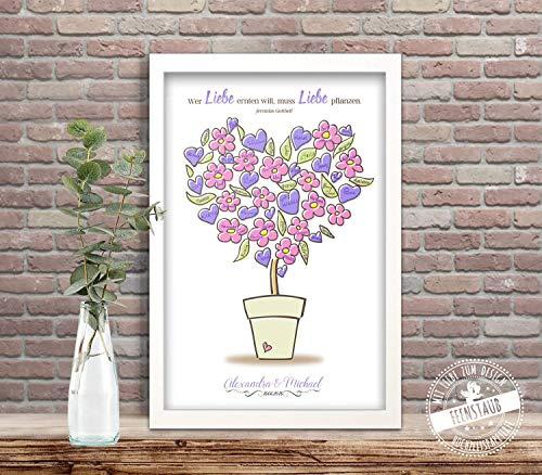 Wedding-Tree Blumentopf für Unterschriften Hochzeits-Gäste, Gästebuch-idee Leinwand Hochzeit