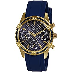 Guess W0562L2 36.5mm Gold Plated Stainless Steel Case Blue Rubber Mineral Women's Watch