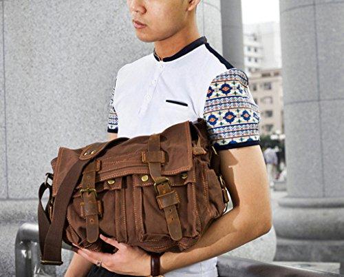 Unisex Scuola Cartella Di Cuoio Tela Spalla Militare Messenger Bag Cachi Khaki Comprar Barato Mejor Tienda Para Comprar nTqUN