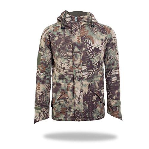 Neue Art-Mann-Multifunktionsaußen Jagd Camping Mäntel Soft Shell Camouflage dicke Fleece-Innenjacke Hoodie Horseshoe Cuffs (Grüne Python, XXL)
