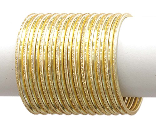 MUCH MORE Set Of 24 Plain Bangle Women and Girls Jewellery(Golden) (2.6)