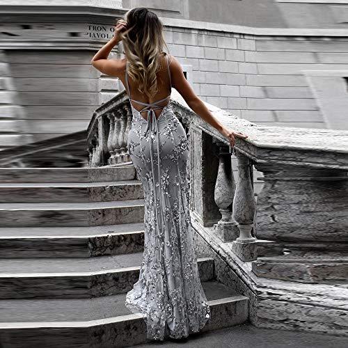 2363f16bf2e1 Weant Abiti da Cerimonia Sexy Vestito Lungo Abito Lungo Vestito Donna  Elegante Abito Abiti Donna Eleganti Mini Cocktail Gonna Manica Lunga Vita  A-Linea ...