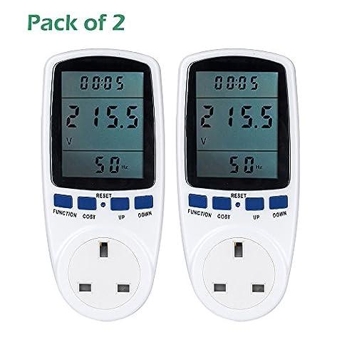 Senweit Pack of 2 Digital LCD UK Plug Power Meter
