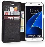 WIIUKA Echt Ledertasche -Travel Away- für Samsung Galaxy S7 Edge mit Vier Kartenfächern, Extra Dünn, Tasche Schwarz Premium Design Leder Hülle