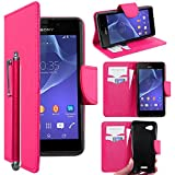 ebestStar - Coque Sony Xperia E3 D2203 Etui PU Cuir Housse Portefeuille Porte-Cartes Support Stand + Stylet, Rose [Appareil: 146 x 72 x 7.3mm, 5.2'']