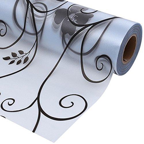 OUNONA Mattglas-Fenster-Aufkleber-Fenster-Film-Streifen Privatleben-Fenster-Film-selbstklebende Schwarz-Blumen-Blume Glas-Film-Abziehbilder für Badezimmer-Schlafzimmer-Büro-Küche 45x100cm