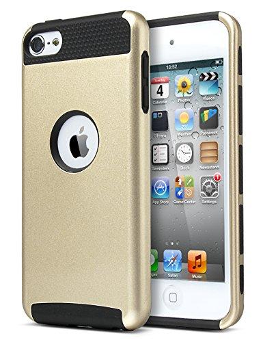 Schutzhülle für iPod Touch 56, Ulak Schutzhülle Hybrid Schicht 2Schwere aus PC Hart Schutzhülle für iPod Touch 5/6th Generation (Champagne Gold/Schwarz)