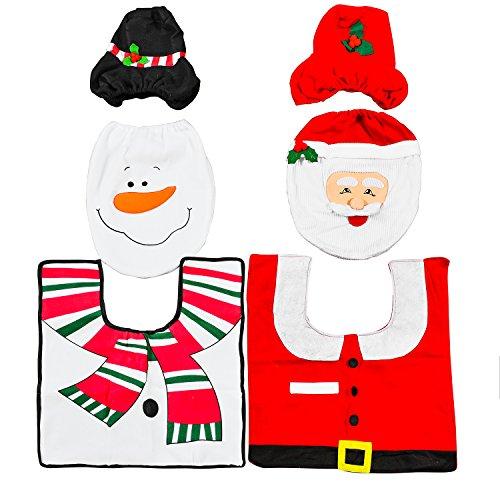 2 Sets Diferentes Decoraciones de Navidad Para Baño – Adorno Navideño para Inodoro - Accesorio, Decoración para Caja de Pañuelos Tapa de Inodoro, Alfombrillas – Diseños de Muñeco de Nieve y Santa
