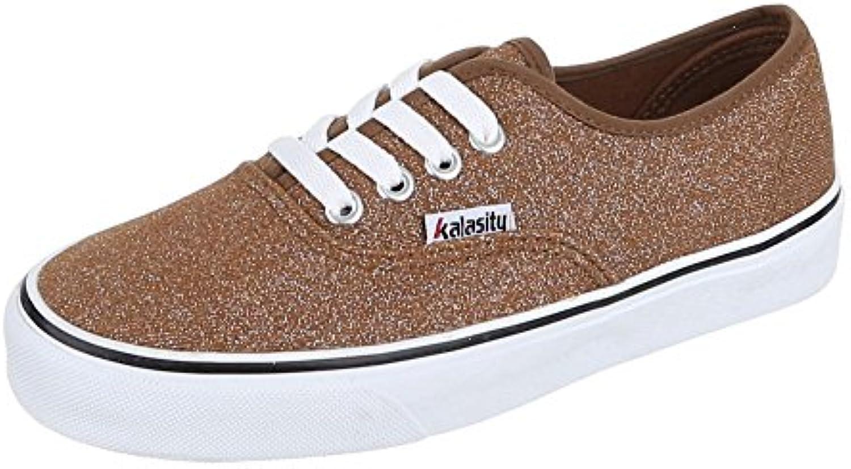 Ital-Design Damen Schuhe YJ876010-2 Freizeitschuhe Schnürer Sneakers