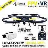 UDI U818A Drohne 2 MP WiFi FPV Kamera 2,4 GHz Quadrocopter Version 2017 mit Höhehaltemodus Altitude Hold, Rückholmodus Headless Mode, VR 3D Brille, Akkustandswarnung, Flugroutenplanung und One-Key-To-Start Funktion inkl. 3 Akkus