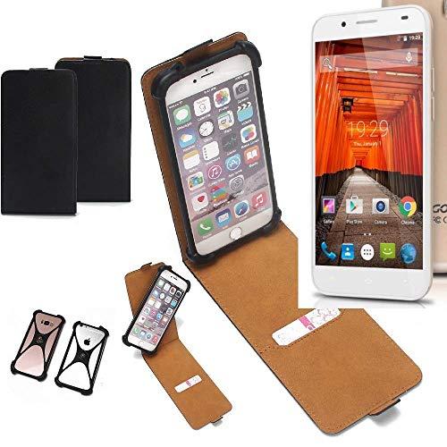 K-S-Trade Flipstyle Hülle für Swees Godon X589 Handyhülle Schutzhülle Tasche Handytasche Case Schutz Hülle + integrierter Bumper Kameraschutz, schwarz (1x)