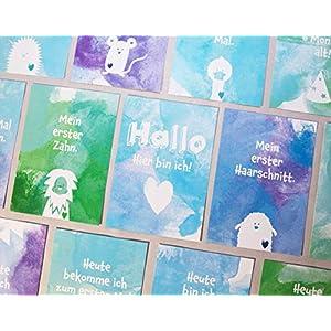 Baby Meilenstein Karten, erstes Jahr, 34 Postkarten (Boys Edition)