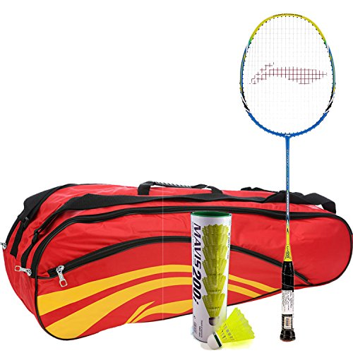 Li-Ning G Force 1600 with kitbag and Shuttlecock Combo (Li-Ning G Force Strung Badminton Racquet + ABDJ118 Kit Bag + Mavis 200I Pack of 6 Shuttlecock) - Red with Mavis 200I