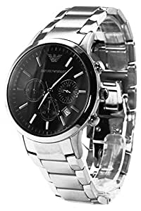 Emporio Armani Gents AR2434 Round Case Black Dial Chronograph Stainless Steel Bracelet Watch